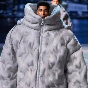 20FW Wool Cashmere Blend Fabric Heavy Embossed Down Jacket Winter Warm Winter Coat Men Women Windproof Street Outwear HFHLYRF066