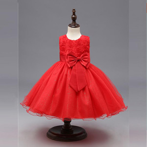 Baby Christmas Dress Girl Sleeveless Red New Year Costume Toddler Girls Baptism Dress Newborn Flower Petals Infant Clothing