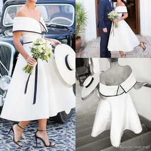 Black and White Wedding Dress vintage retro Tea Length Off the Shoulder Simple Satin A-Line Short country Bridal Gowns