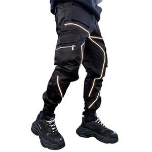 Primavera otoño pantalones de carga hombres moda marea fresco high street joggers nighttime reflective pantalones casuales pantalones de pantalones de los hombres