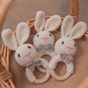 Hook Amigurumi Bunny Bel Newborn Breien Gym Education Biding Mobile Baby Rammelaar Toys 0-12 months