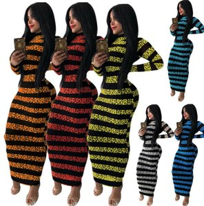 New sales of Europe and the United States autumn and winter women's stripes print long-sleeve dress