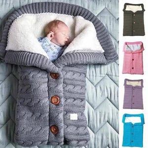 Newborn Infant Baby Blanket Knit Crochet Autumn Winter Warm Warm Swaddle Wrap Sleeping Bag 0-12Months
