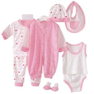 8Pcs Set Newborn Baby Boy Girls Dots Print Vest Romper Pants Hat Socks Outfits Unique Baby Gift Breathable Soft Children Suit