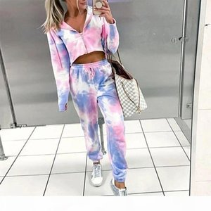 Tie Dye Printed Womens Spring Two Piece Set Zipper Hoodies Crop Tops Drawstring Pants Ladies Sets 2020 Women Tracksuits Outfit T200903