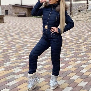 New Winter Hooded Jumpsuits Parka Plus Size Padded Warm Sashes Ski Suit Straight Zipper One Piece Women Casual Tracksuits