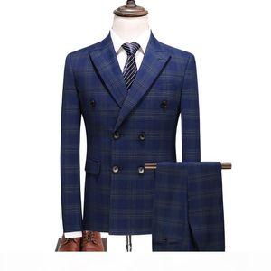 Men's Suit Set Business Formal Wedding Dress Groom BlueTuxedo Slim Fit Double Breasted Grid Male Suit Set Men(Jacket+Pents+Vest)