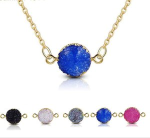 Design Resin Stone Druzy Necklaces 5 Colors Gold Plated Geometry Stone Pendant Necklace For Elegant Women Girls Fashion Jewelry GD995