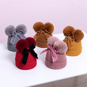 Bow Hat Lovely Knitting Elastic Cap Children Double Ball Pompom Keep Warm Baby Beanie Autumn Winter 17 5bh K2