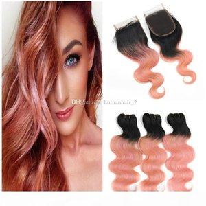 Rose Gold Человеческие волосы Weaves с закрытием кружева два тон 1b розовый розовый ombre 4x4 кружевной закрывающуюся с пучками Virgin бразильские волосы