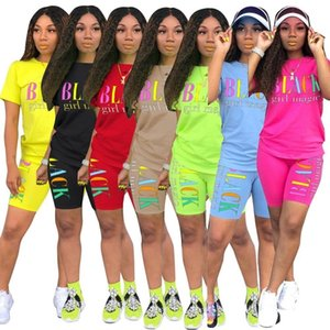 Women new summer letter print short sleeve t-shirt knee length shorts suit two piece set sporting tracksuit outfit GL5249 LJ200826