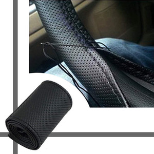 New All Size 36-40cm Car Styling Genuine Leather Auto Car Steering Wheel Cover Cap Anti-slip Car Decoration With Needles and Thread