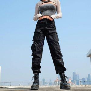 Существующая высокая талия инструментальные брюки для женщин плюс размерные карманы горячие лазды уличные носить лоскутное карандаш пот дно корейский стиль 201111