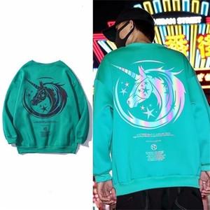 Reflective t-shirt men's short sleeve Unicorn luminous super fire trend hip hop loose luminous clothes ins couple's wearH324Q9555IUH