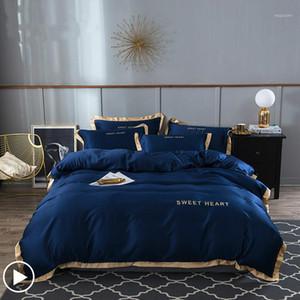 Bedding Set 4pcs Flat Bed Sheet Brief Duvet Cover Sets King Comfortable Quilt Covers Single Queen Size Bedclothes Linens1
