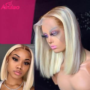 Prepded 613 Ombre Blonde Bob Frontal Wig Pixie Blunt Cut Короткие прямые Полные глиняные HD прозрачные кружевные парики бразильские реми