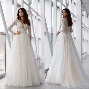 2021 Elegant Long Sleeves Wedding Dresses Lace Applique Sweep Train Beach Bridal Gowns Custom Made A Line V Neck Boho Wedding Dress