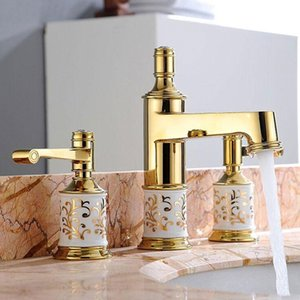 Bathroom Basin Faucets Soild Brass & Ceramic Luxury Lavatory Sink Mixer Taps Hot & Cold Deck Mounted Widespreads Rose Gold