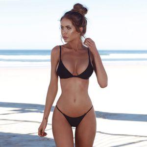Sexy Beach Wear Bikini Summer Women Two-piece Swimwear Pure Color Bikini Set Bathing Suit 2021
