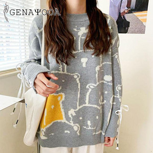 Genayooa 2020 Autumn Winter Women Sweaters And Pullovers Casual O Neck Bear Knitted Tops Jumper Pullover Long Sleeve Chic