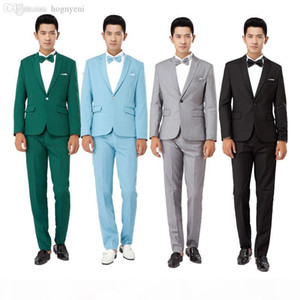 Wholesale-New 2016 Long-Sleeved Men's Suits Dress Hosted Theatrical Tuxedos For Men Wedding Prom Performance cloth suit jacket and pant