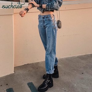 SuchCute Metal Chian Jeans Mujeres Baggy Wide Pierna Plancha Streetwear Gothic High Cintura Femenino Danza Joggers Trajes Festival