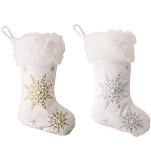 Promotion! Snowflakes Christmas Stockings Pearl Plush Gifts Bag Xmas Tree Hanging