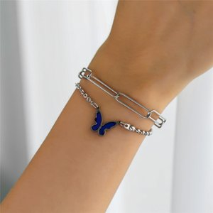 Color Changing Butterfly Pendant Bracelet Fashion Double-layer Stainless Steel Chain Bracelet Birthday Gift for Women Girls