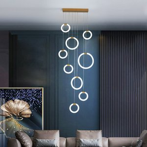 Gold black Led pendant lights for diningroom Living room villa hotel pendant lamp lustre led Hanging nordic lamp light fixtures