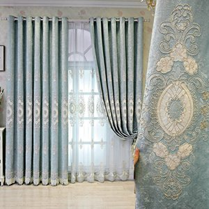 European Style Curtains for Living Room Bedroom Light Luxury Chenille Embroidered Curtains Blue Coffee Color