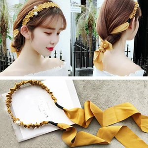 Solid Lace Knotted Girls Headband Pearl Hairband For Women Lady Bow Hair Hoop Hair Accessories Headwear with Tassel A14