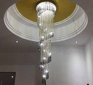 Lampadario a spirale di lusso di lusso Lampadario moderno Lungo illuminazione per progetti Hotel Kronleuchter Kristall LED lampada