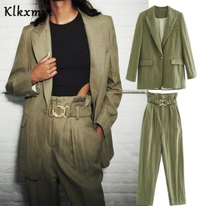 Klkxmyt two pieces sets women england office solid simple single button blazers women jackets tops sashes pants trousers