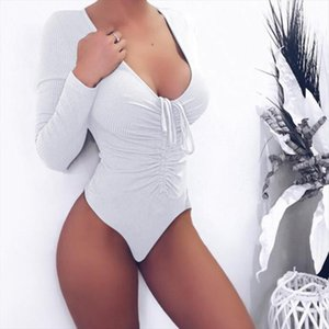 White Black Pink Long Sleeve Bandage Bodysuit Women Body Top 2019 Long Sleeve Sexy Deep V Neck Nightclub Party Bodycon Rompers