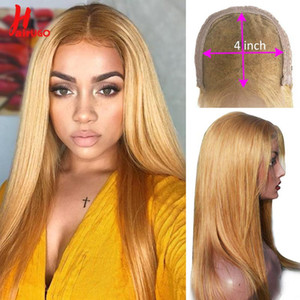 #27 Blonde Straight Closure Wigs 30# Colored Wigs for Women Ombre 4*4 Lace Closure Human Hair Wigs Remy Preplucked 150%
