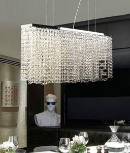 Modern Restoran LED Kristal Avizeler Işıkları Avrupa Sanat Kolye Lambaları Yaratıcı Dikdörtgen Yuvarlak Bar K9 Kristal Aydınlatma