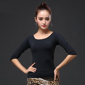 H2626 Lady Latin Dance Black Top Women Ballroom Modern Dance Professional Competition Costumes Pure Color Simple Practice Wear