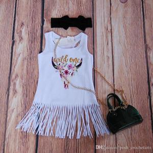 Boho Babe Bull Dress Fringe Girls Dresses Glitter Gold Wild One Tassels Dresses for Baby Girls White Fringe Dress Boutique Girls Clothes