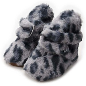 2020 New Winter Baby Boy Girl Leopard Pettern Shoes Fluffy Soft Sole Toddler Boots Infant Catton Socks Shoes