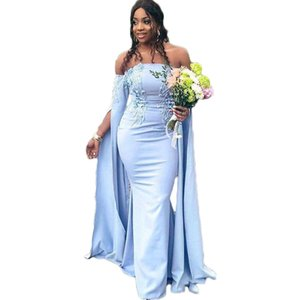 Off the Shoulder African Women Formal Evening Dresses Strapless Dramatic Sleeve Special Occasion Dinner Party Dress Long