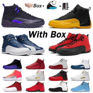 retro 12 stock x مع صندوق الهواء أحذية الرجال لكرة السلة 12 الحجر الأزرق 12S جامعة الحرير الذهبالأردنالرجعية OVO رياضة بولز لكرة السلة أحذية رياضية الأسهم اكس المدربين