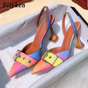 Eilyken New Boucle Boucle Sangle Mules Summer Femmes Pumps Chaussures Spike Talons hauts pointus Toe Robe arc-en-ciel Chaussures Taille 41 42 201215