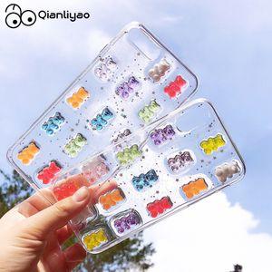 Qianliyao bonito 3d doces cores urso telefone case para iphone x xs max xr 8 7 6 6 s mais 11 12 pro max s 2020 glitter macio capa