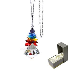 Кристаллы люстры Призмы Радуга Чакра Suncatcher с бисером Украшение висящего орнамента