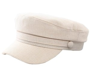 Qinju Ladies Newsboy Cabbie Beret Cap Bakerboy Peaked Vintage Cotton Linen Fiddler Flat Hat for Women