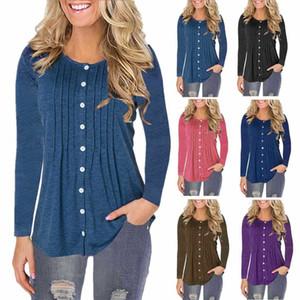 Q6104 autumn and winter women's round neck button long sleeve T-shirt