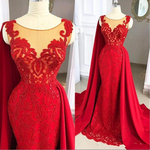 2021 Red Arabic Sleeveless Prom Dresses Mermaid Jewel Neck Illusion Lace Appliques Crystal Beads With Wraps Formal Evening Gowns Party Dress