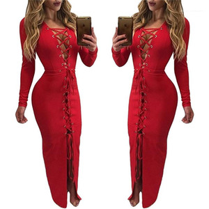 Color Hollow Out Bandge Dresses Fashion Female Clothing Womens Designer A Line Dress Autumn Sexy Solid