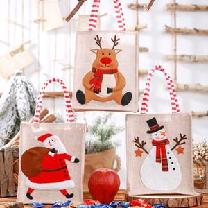 Noel Tuval Çanta İşlemeli Tote Keten Yeniden kullanılabilir Çocuk Hediye Şeker Çantası Alışveriş Çantası Noel Süsleri w-00439