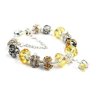 factory direct luxury pandor 2020 hot Colorful Crystal Bracelet Women Amazon Crown Beaded Bracelet Handmade Glass Bead Bracelets ornaments